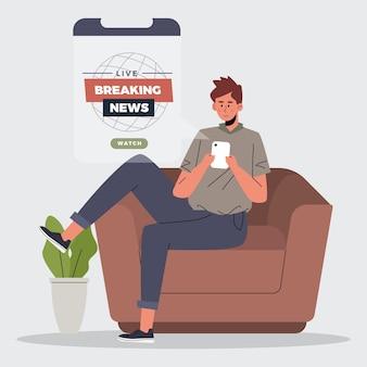 電話でニュース速報を見ている人
