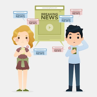 Люди смотрят последние новости по телефону