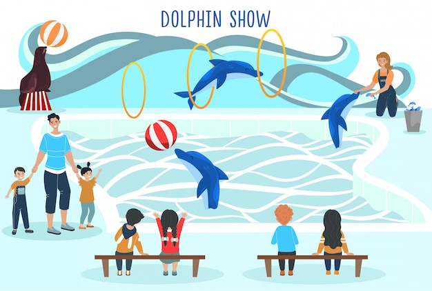 People watching dolphin show, entertainment for family with kids, trained animals performance,  illustration