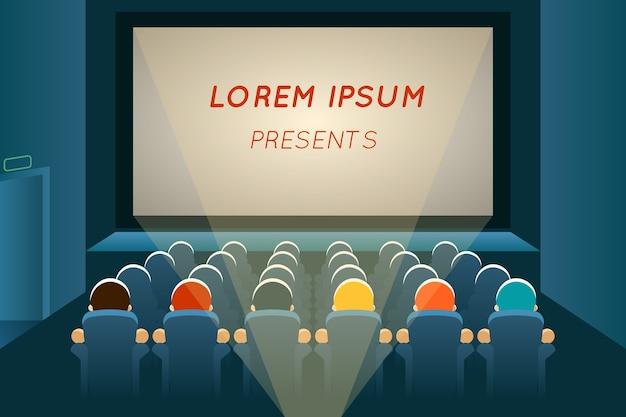 映画館で映画を見ている人。映画とスクリーン、観客席、ショーとコンサート、講堂のプレゼンテーション、列とエンターテイメント