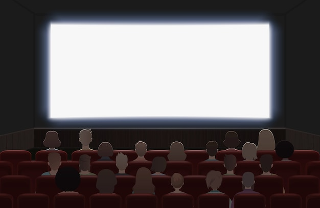 People watching movie at cinema hall interior  illustration. back view