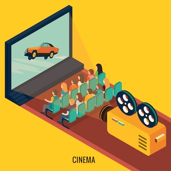 People watching movie in cinema theater. isometric 3d illustration