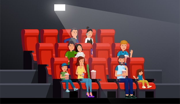 People watching movie comfortably in picture palace vector illustration. theater interior