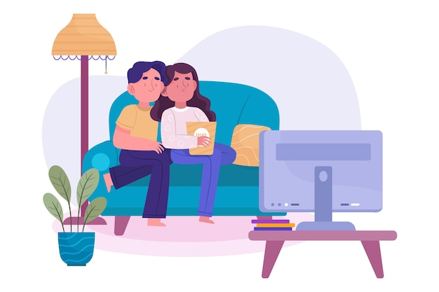 People watching a movie at home concept
