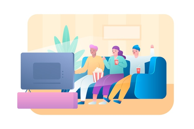People watching a movie at home Free Vector