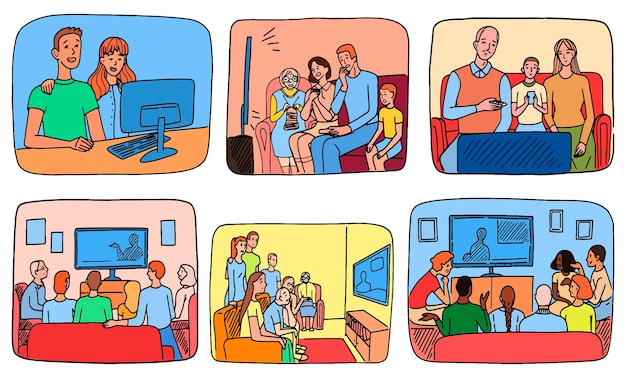 People watching the news at home. families and roommates watching tv or sit at the computer. set of hand drawn vector illustrations. collection of simple doodles scene.