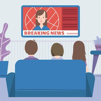 People watching the news