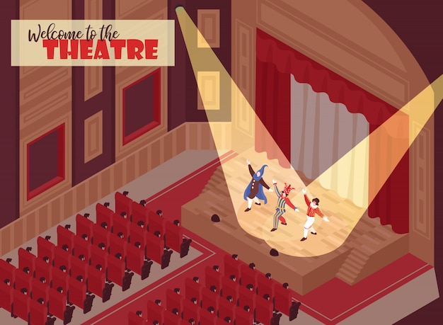 People watching performance in opera theatre hall 3d isometric