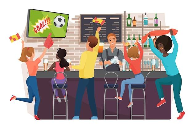 Люди смотрят футбол и празднуют в баре