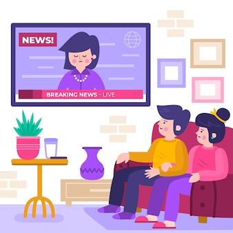 ニュースを見ている人