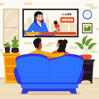 Люди вместе смотрят иллюстрированные новости