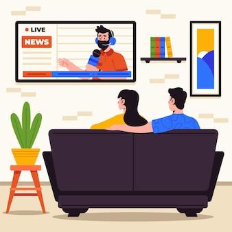 室内でニュースを一緒に見ている人