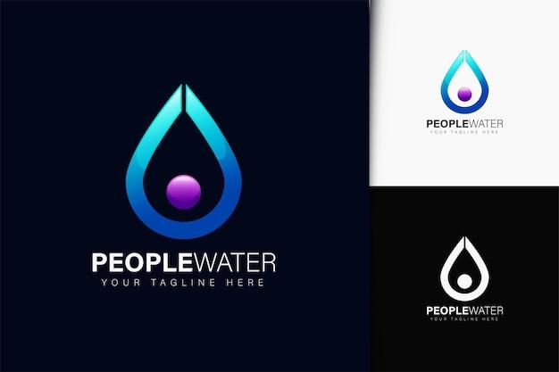 그라데이션이 있는 사람들 물 로고 디자인