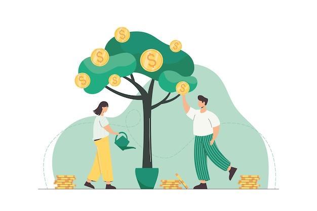 Люди поливают денежное дерево и собирают золотые монеты с зеленых растений. успешный рост бизнеса, доход и инвестиционная концепция. плоские персонажи зарабатывают деньги. компания имеет денежную финансовую прибыль.