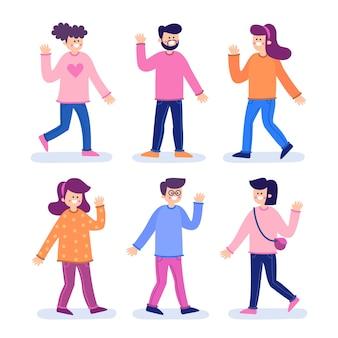 People waving hand illustration