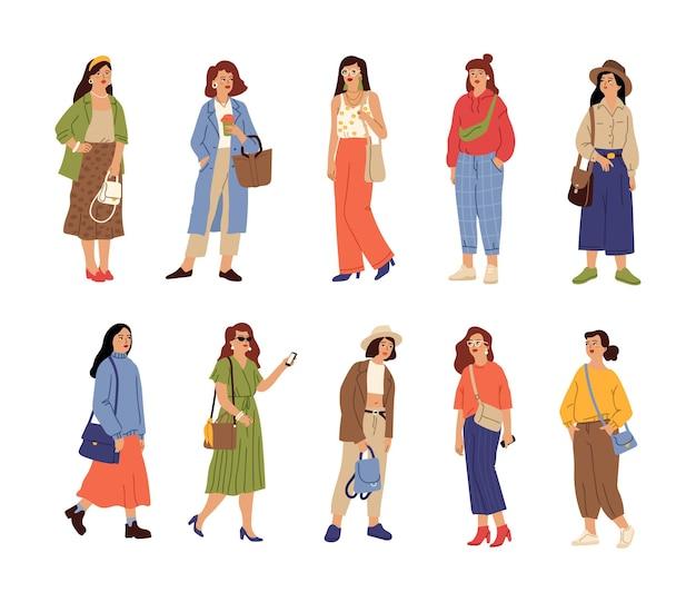 人々はカジュアルな服を着ます。美しい少女、ファッションスタイリッシュな女性キャラクター。孤立した若い女性春秋流行の衣装ベクトルセット。女性のための春秋服、新しいコレクションのイラスト