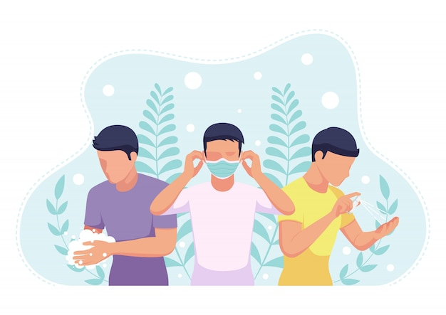 Covid-19 바이러스 예방을 위해 안면 마스크로 손을 씻고 알코올 스프레이로 소독하는 사람들