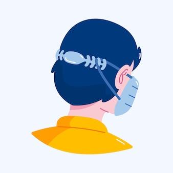 Persone che indossano un'illustrazione della cinghia della maschera facciale regolabile