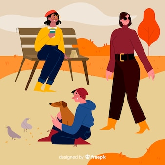 People wearing autumn clothes concept