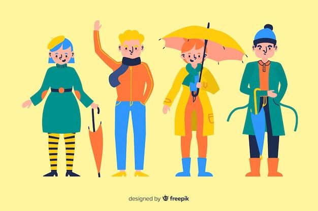 People wearing autumn clothes illustration