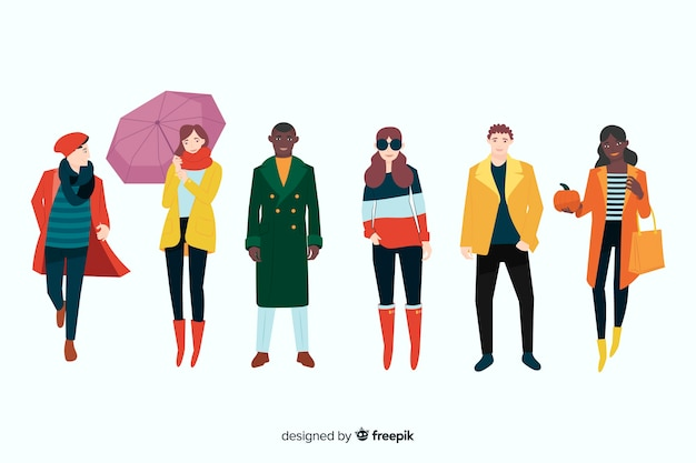 People wearing autumn clothes illustration