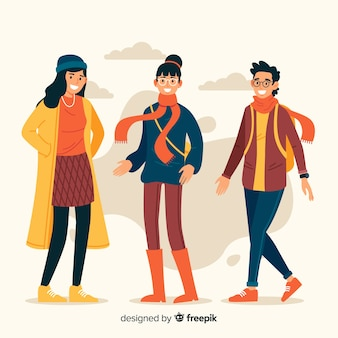People wearing autumn clothes
