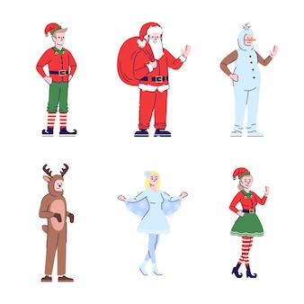 クリスマスコスチュームフラットイラストセットを着ている人