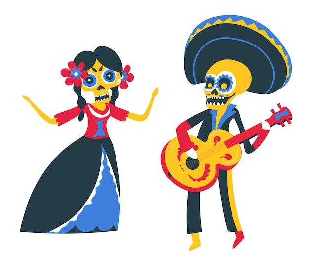 의상을 입고 해골로 분장한 사람들이 공연을 하고 있습니다. 기타 연주와 춤을 가진 남자와 여자. 전통적인 멕시코 휴일의 죽은 축하의 날, 플랫 스타일의 벡터