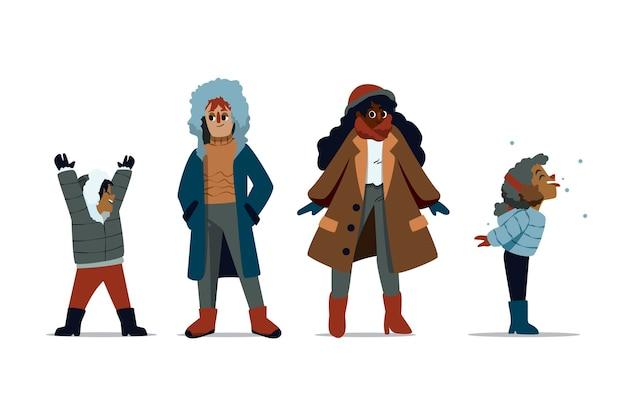 Persone che indossano abiti invernali accoglienti illustrati