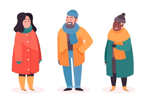 People wearing cozy winter clothes