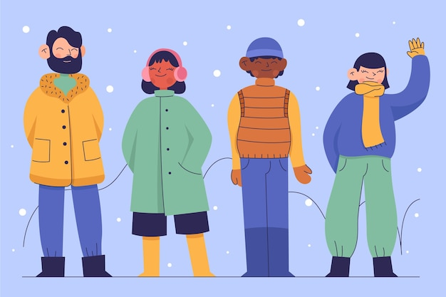 아늑한 겨울 옷을 입은 사람들