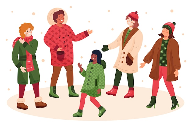 居心地の良い冬服を着ている人