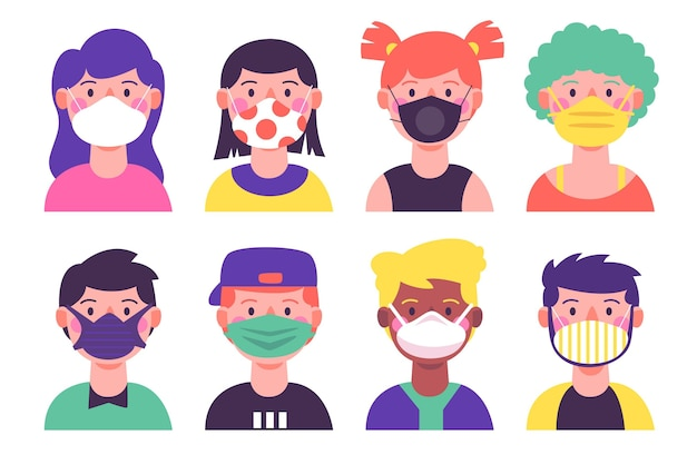 People wearing different face mask types