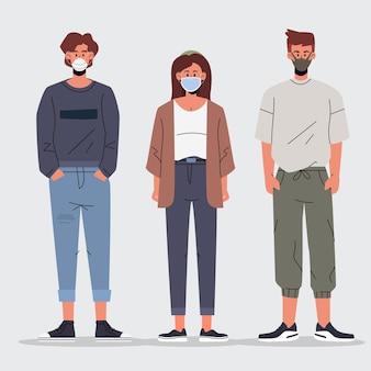 다른 얼굴 마스크 유형을 착용하는 사람들