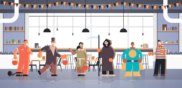 People wearing different monsters costumes tricks and treat happy halloween party celebration concept modern cafe interior full length horizontal