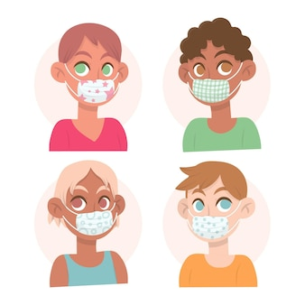 People  wearing fabric face masks concept