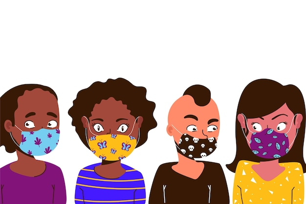 People wearing fabric face masks design