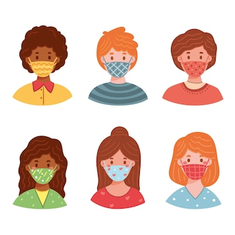 People wearing fabric face masks