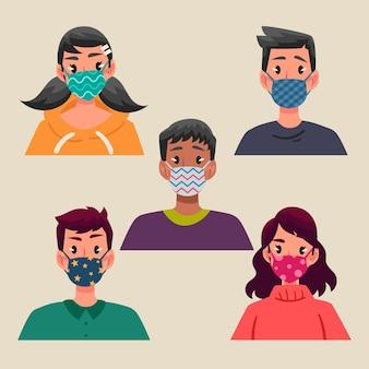 직물 얼굴 마스크를 착용하는 사람들
