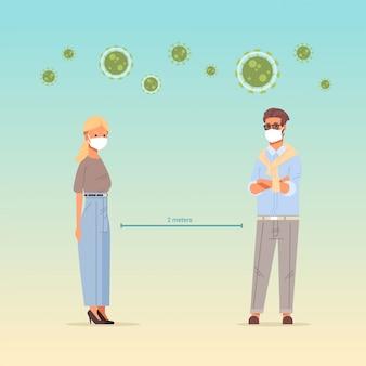 Люди, носящие маски, мужчина, женщина, держащая расстояние 2 метра, чтобы предотвратить социальное дистанцирование covid-19