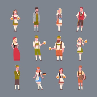 People wearing german traditional clothes set of man and woman holding beer mugs oktoberfest party concept