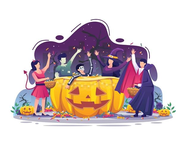 ハロウィーンの衣装を着ている人々は、ハロウィーンの夜のベクトルイラストでキャンディーを集めています