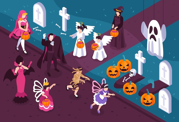 People wearing halloween costumes of vampire fairy witch zombie angel and party decoration in isometric ivew