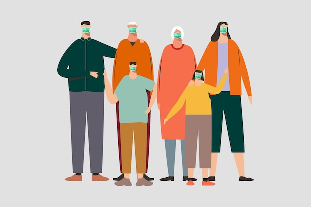 マスクをしている人家族マスクをしているイラスト