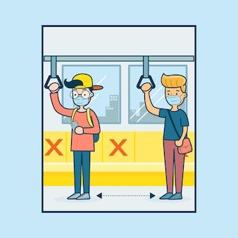 Люди в масках на метро Бесплатные векторы