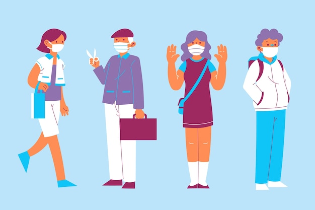 People wearing medical mask collection