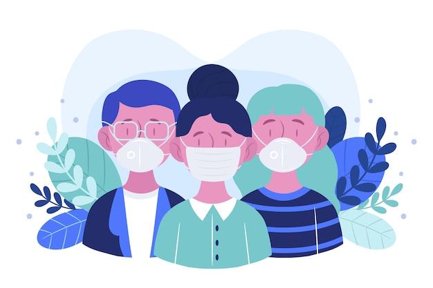 의료 마스크 개념을 착용하는 사람들