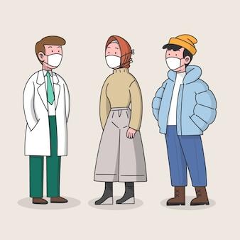 Люди, носящие медицинскую маску доктора и мирных жителей
