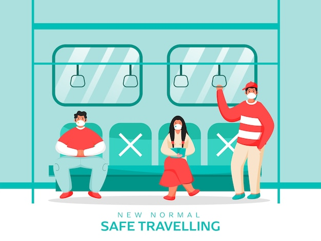 People wearing medical mask at train with maintain social distance to prevent from coronavirus. new normal safe travelling concept.