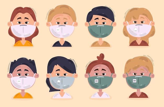 医療用マスクのイラストを身に着けている人